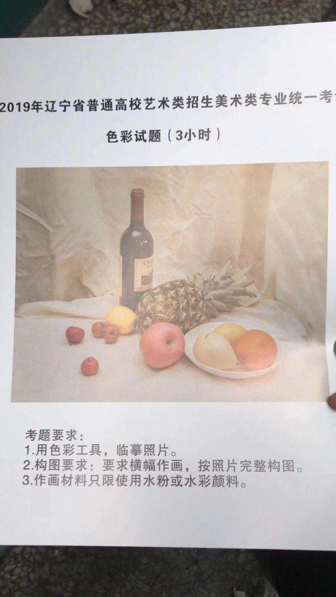 辽宁:2019年美术统考考题及优秀范画