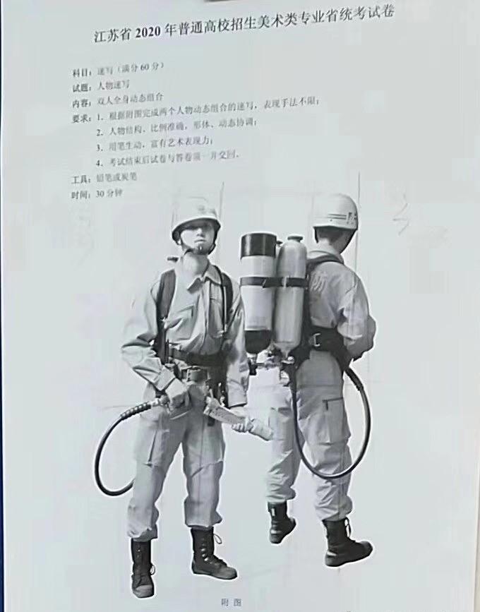 江苏2020年美术联考速写考题
